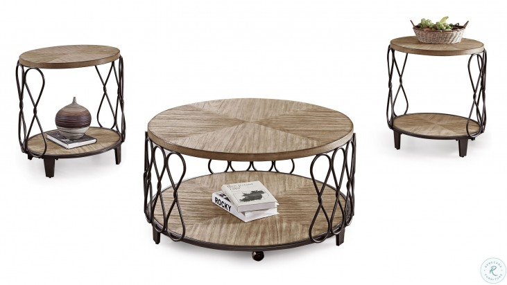 Belcourt Rustic Honey Occasional Table Set