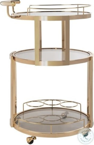 Rio Gold And Tea Glass 3 Tier Round Bar Cart