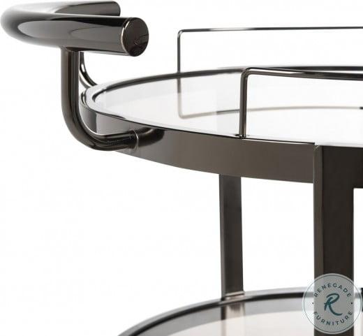 Rio Black Nickel And Tea Glass 3 Tier Round Bar Cart