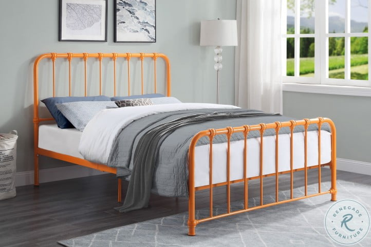 Bethany Orange Full Metal Bed In A Box