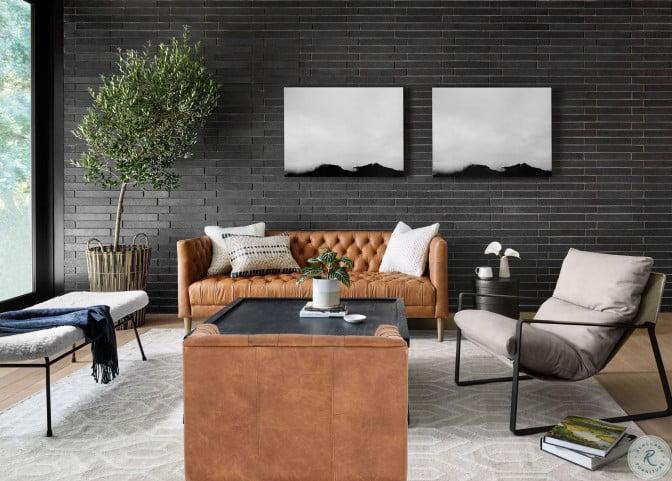 """Carnegie Natural Washed Camel 75"""" Williams Leather Living Room Set"""