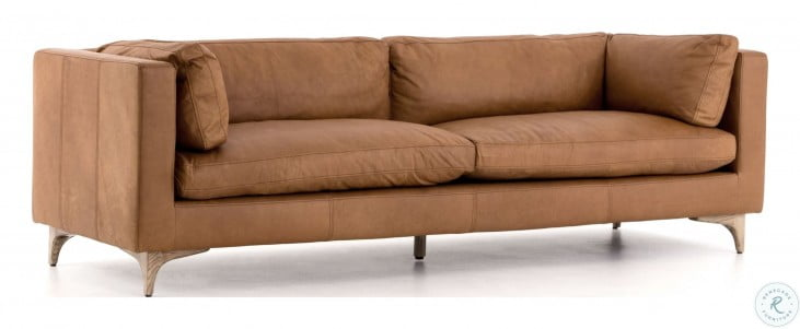 """Carnegie Naphina Camel Leather 94"""" Beckwith Sofa"""
