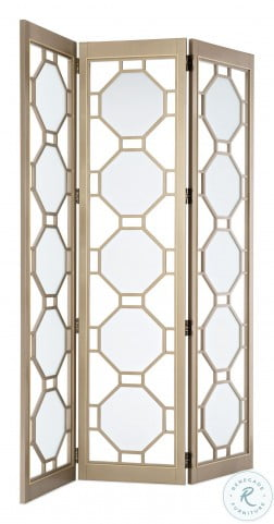 Classic Private Screening Golden Shimmer With Gold Stripe Room Divider