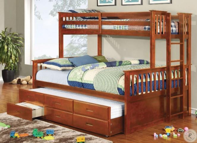 University Oak Extra Long Twin Over Queen Bunk Bed