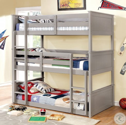 Therese Gray Twin Over Twin Triple Bunk Bed