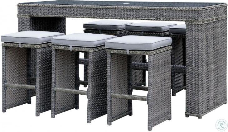 Ismay Gray Umbrella Outdoor Patio Table