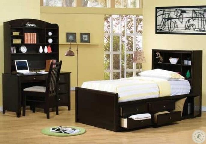 Phoenix Cappuccino Twin Bookcase Storage Bed