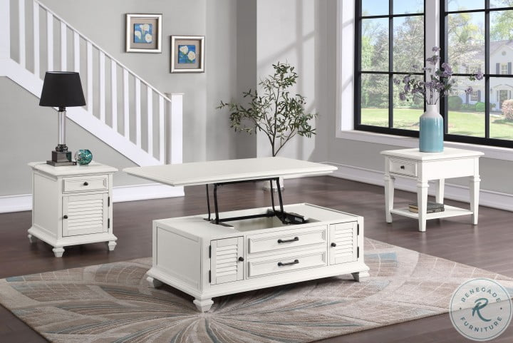 Charlestown Soft White Lift Top Occasional Table Set