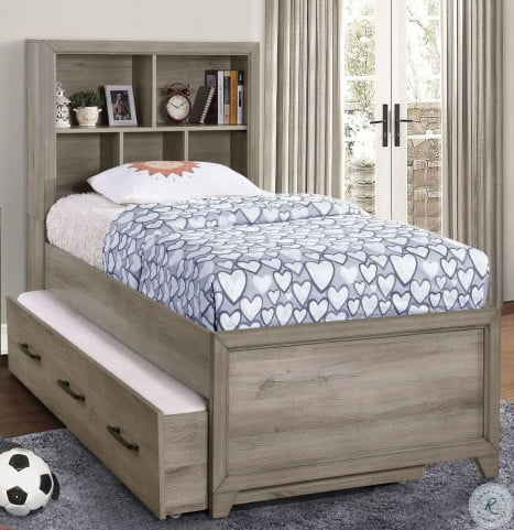 River Creek Birch Brown Youth Bookcase Bedroom Set with Trundle
