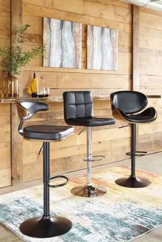 Bellatier Black Tall Upholstered Swivel Adjustable Bar Stool