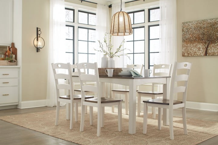 Woodanville Cream and Brown 7 Piece Dining Room Set