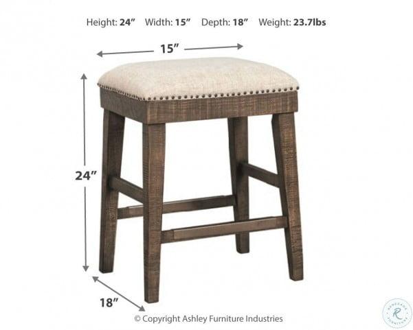 Wyndahl Rustic Brown Upholstered Stool Set Of 2