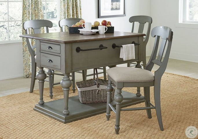 Colonnades Distressed Putty and Oak Extendable Kitchen Island