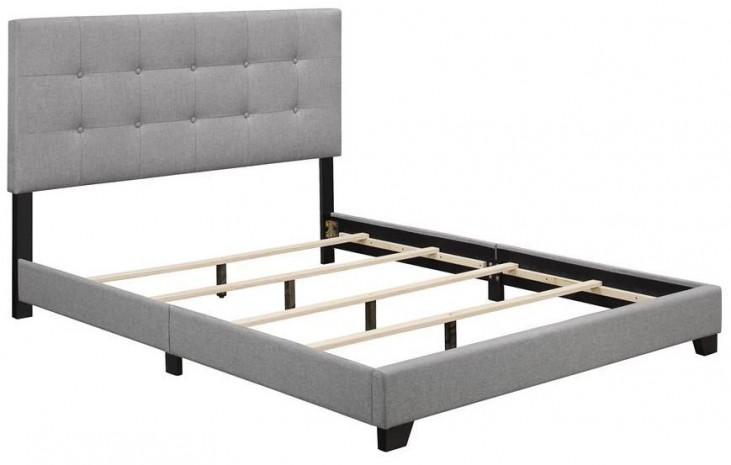 Glacier Linen Queen Upholstered Panel Bed