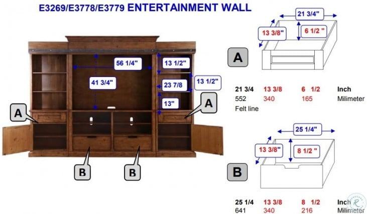 Garrett Distressed Charcoal Entertainment Wall Unit