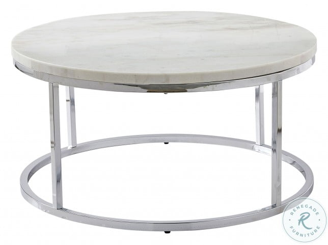 Echo White And Chrome Round Cocktail Table