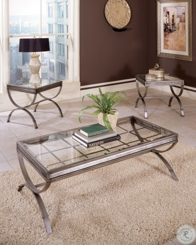Emerson Nickel 3 Piece Occasional Table Set