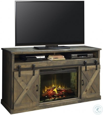 """Farmhouse 66"""" Brushed Nickel Fireplace Console"""
