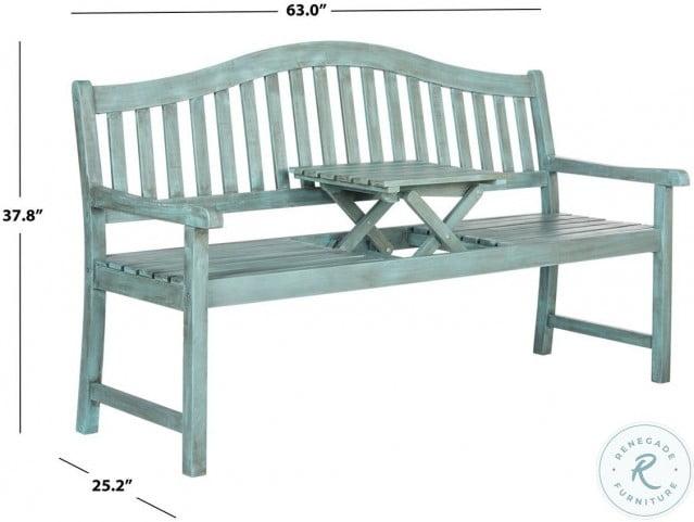 Mischa Beach House Blue Outdoor Bench