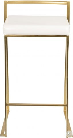 "Fuji 26"" Gold And White Bar Stool Set of 2"