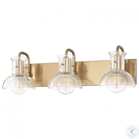 Riley Aged Brass 3 Light Bath Bracket