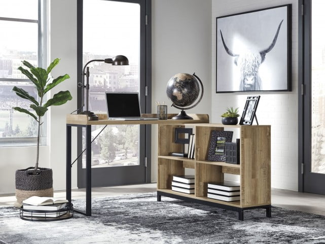 Gerdanet Light Brown L-Shaped Home Office Set