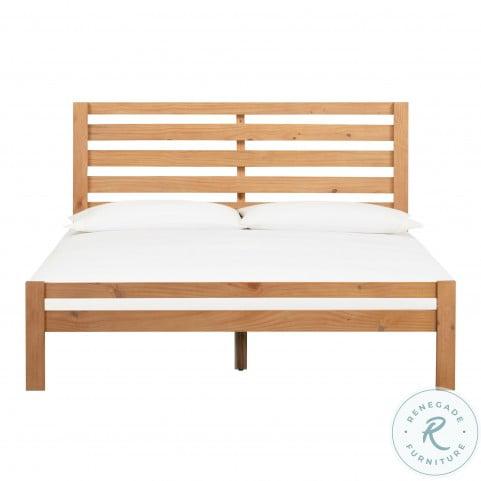 Andy Oak Wooden Queen Panel Bed