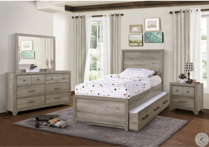 River Creek Birch Brown Twin Panel Bed With Trundle