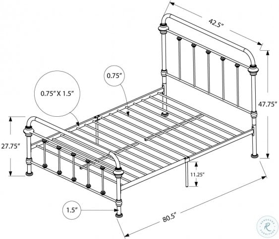 2636T Black Metal Twin Panel Bed