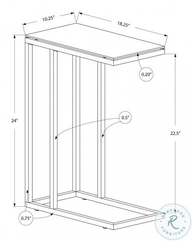 3037 White Metal Accent Table 3037