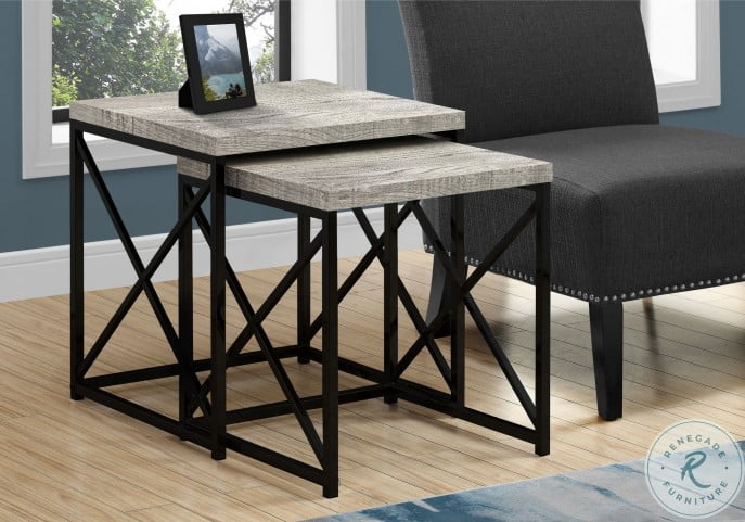 3414 Grey And Black Nesting Table Set Of 2