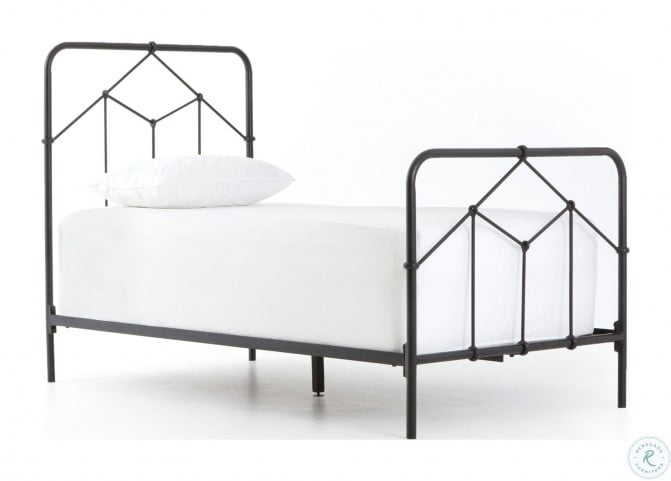 Primitive Sandblasted Vintage Black Casey Twin Metal Bed
