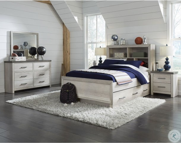 Riverwood Gray Full Bookcase Bed With Trundle