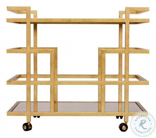 Ireland Gold Leaf Linear Bar Cart
