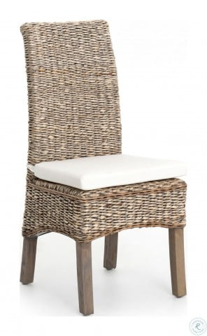 Grass Roots Cream Banana Leaf Chair With Grey Wash Cushion