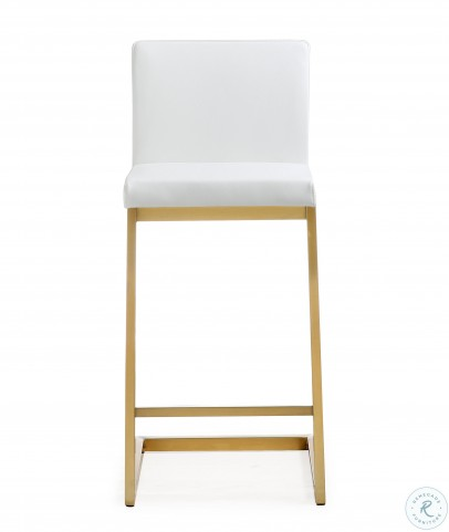 Parma White Gold Steel Counter Stool Set of 2
