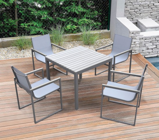Bistro Grey Powder Coated Outdoor Patio Dining Table