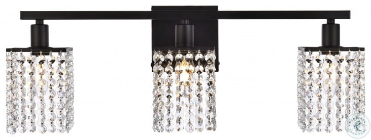 LD7010BK Phineas Black And Clear Rectangle 3 Light Bath Sconces