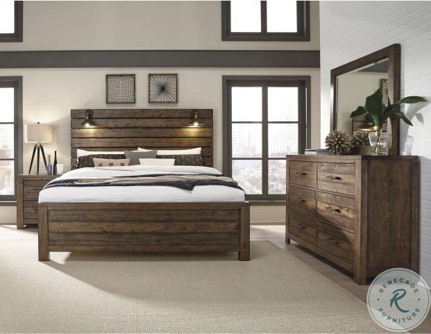 Dakota Rustic Amber Sconce Panel Bedroom Set