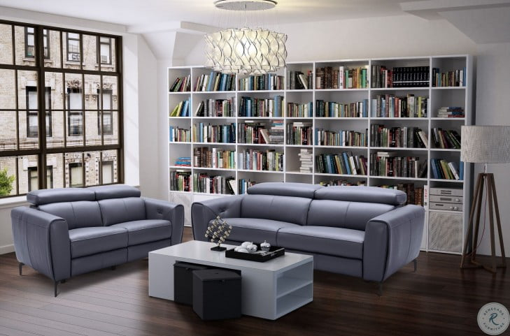 Lorenzo Blue Grey Leather Living Room Set