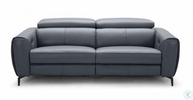 Lorenzo Blue Grey Leather Sofa