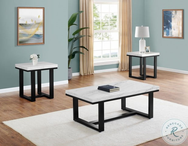 Lucca White Marble Top Occasional Table Set