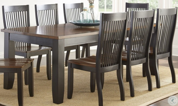 Lawton Black and Brown Extendable Dining Room Set