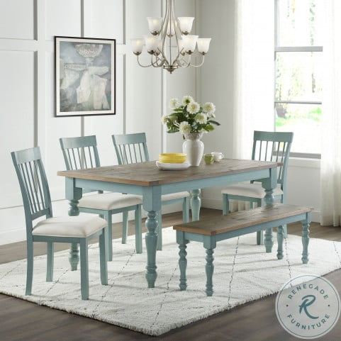 Blue Farmhouse Dining Room Set From, Farmhouse Dining Room Furniture Sets