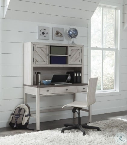 Riverwood Gray Door Home Office Set with Hutch