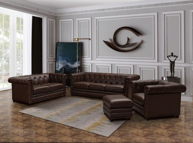 Barrington Brown Leather Sofa