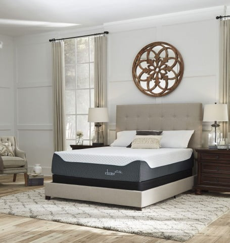 """Chime Elite 14"""" White and Blue Cal. King Ultra Plush Mattress with Foundation"""