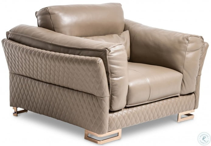 Mia Bella Taupe Leather Chair and A Half