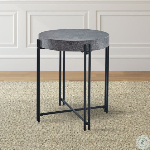 Morgan Mottled Grey and Black Round Occasional Table Set