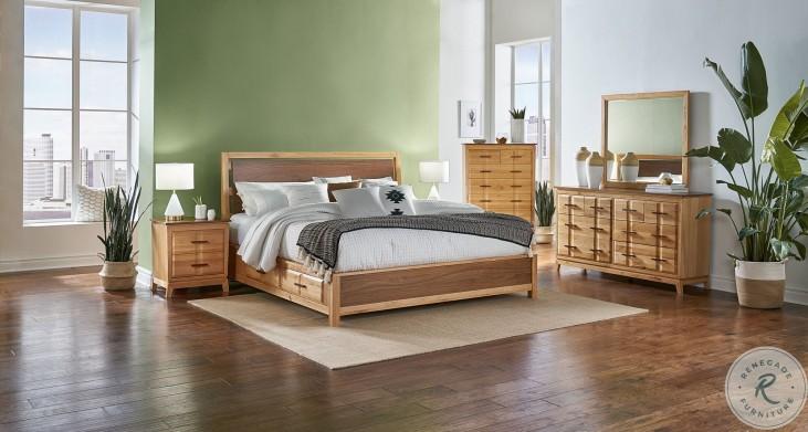 Modway Natural Alder And Warm Walnut Angled Platform Storage Bedroom Set
